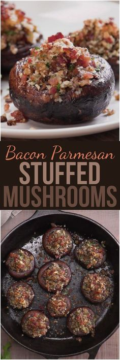 Bacon Parmesan Stuffed Mushrooms We stuffed gorgeous sautéed cremini mushroom caps with a mouthwatering mixture of bacon, Parmesan cheese, and herbs, and then we baked them to crispy, caramelized perfection. These quick and easy party bites will disappear Finger Food Appetizers, Appetizers For Party, Appetizer Recipes, Bacon Appetizers, Party Snacks, Recipes Dinner, Tapas, Mushroom Recipes, Vegetable Recipes