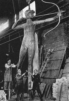 """Before """"Diana"""" was installed at the Philadelphia Museum of Art in 1932, she was repaired at the Roman Bronze Works (shown here) in Corona, NY."""