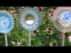 Yard flowers made out of glass dishes and bowls