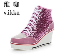 Glitter Sequins Women casual shoes Height Increasing Wedges lace up Flats  Casual Ankle high top Sliver 14b256ef3421