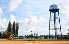 The 62-year-old water tower at Peter Bluesten Park in Hallandale is demolished.
