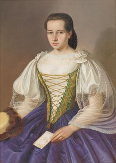 Anny Sefránkovej by Peter Michal Bohúň, 1860 Victorian Portraits, National Gallery, Romantic Paintings, European Dress, Fashion Art, Fashion Portraits, Oil On Canvas, Anna, Costumes