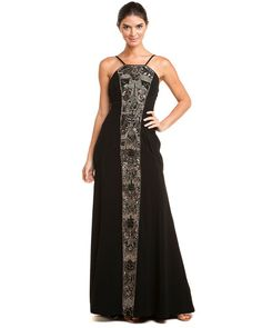 Theia Black Beaded Inset Crepe Gown