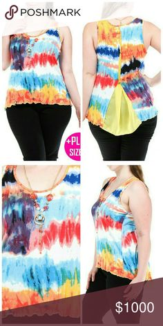 **COMING SOON ** Plus Size Multicolor Top  Necklace included   Fabric: 95% Rayon 5% Spandex  Made in USA Tops Tank Tops
