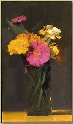 smARTing off: Still Life: Zinnias Paintings I Love, Beautiful Paintings, Watercolor Paintings, Floral Paintings, Flower Vases, Flower Art, Art Flowers, Yellow Flowers, Floral Drawing