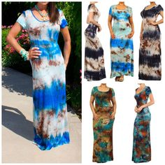 BOHO TIE DYE OMBRE SHORT SLEEVE MAXI DRESS PLUS AND REGULAR 5 COLORS by MOJO USA in Clothing, Shoes & Accessories, Women's Clothing, Dresses | eBay