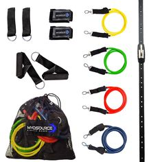 Space Saver Gym Home Gym Resistance Bands Training Tool (Wall Mount Anchor, 1 Adjustable Rail Car) Full Resistance Bands Training Kit Levels of Resistance) Exercise and Fitness ** More info could be found at the image url. (This is an affiliate link) Resistance Band Training, Resistance Workout, Gym Setup, Wall Railing, Training Kit, Rail Car, Workout Accessories, At Home Gym, Wall Mount