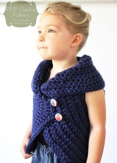 Crochet Patterns Neutral Crochet Pattern: The Julia Sweater -Toddler, Child, Adult S/M and Adult M/L Size… Crochet Girls, Crochet Baby Clothes, Cute Crochet, Crochet For Kids, Crochet Crafts, Crochet Projects, Knit Crochet, Crochet Toddler Sweater, Crochet Sweaters