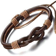 Tan cuero de la pulsera del nudo náutico para él y ella, unisex, 100% cuero auténtico, 20 cm (Secure Nuevo Cierre)