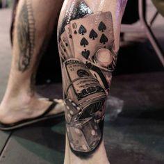 Cool Money Tattoos - Best Money Tattoos: Cool Money Bag, Dollar Sign, Cash Stack, and Monopoly Man Money Tattoo Designs and Ideas Side Leg Tattoo, Upper Leg Tattoos, Calf Tattoo Men, Best Leg Tattoos, Knee Tattoo, Leg Sleeve Tattoo, Dog Tattoos, Arm Tattoo, Body Art Tattoos