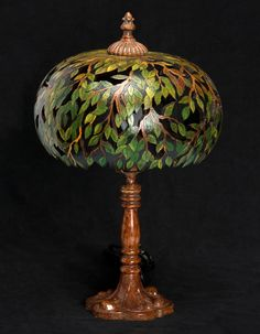 carved Gourd lamp by Pam Redhawk