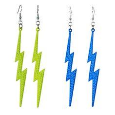 Neon Lightning Bolt Earrings 80s Jewelry, Jewlery, Lightning Bolt Earrings, 80s Fashion, 1980s, Dangle Earrings, Dangles, Boards, Neon