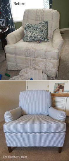 Ticking stripe slipcover makeover for an old Drexel chair. Looks brand new!