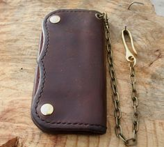 Hand made Horween Leather Long Wallet Biker Wallet by CultClassicLeather