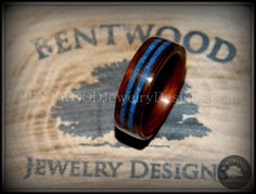 Bentwood Ring - Kingwood Wooden Ring with Double Blue Lapis Inlay - Bentwood Jewelry Designs - Custom Handcrafted Bentwood Wood Rings - 2