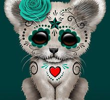 Teal Blue Day of the Dead Sugar Skull White Lion Cub by Jeff Bartels