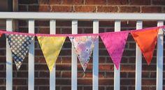 Fabric Banner - Fabric Bunting - Pink and Gray  by monkeyandlamb on Etsy