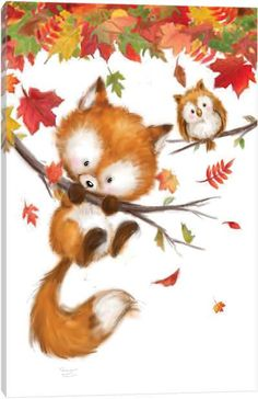 Fall Canvas Painting, Autumn Painting, Autumn Art, Canvas Artwork, Canvas Art Prints, Animal Paintings, Animal Drawings, Cute Drawings, Cute Animal Illustration