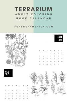 Download and print this Free Adult Coloring Book Printable Calendar with Plants! From Pop Shop America craft tutorial blog.