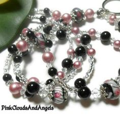 Browse unique items from PinkCloudsAndAngels on Etsy, a global marketplace of handmade, vintage and creative goods. Lanyard Necklace, Beaded Lanyards, Id Badge Holders, Black Necklace, Swarovski Pearls, Bead Caps, Lampwork Beads, Beautiful Necklaces, Necklace Lengths