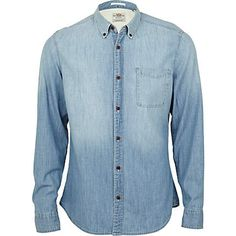 Blue light wash denim shirt - shirts - sale - men