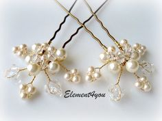 Bridal hair piece. Wedding set of 2 pins. Leaves Hair vines. Ivory gold. Pearl hair pins. Wedding accessories. White pearls. Crystal pins by Element4you on Etsy https://www.etsy.com/listing/58291360/bridal-hair-piece-wedding-set-of-2-pins