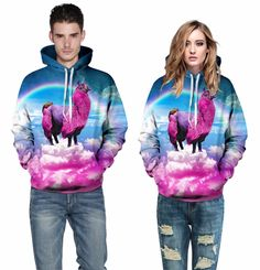 Find More Hoodies & Sweatshirts Information about Europe Hot Rainbow grass mud horse 3D digital printing Star Couples leisure fitness  sweatershirts,High Quality sport sport,China 3d couples Suppliers, Cheap 3d print from Riel Technology Co.,LTD on Aliexpress.com