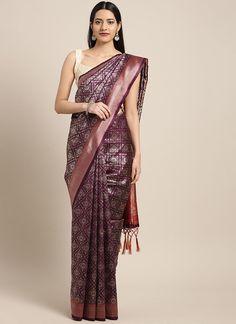 Sareetag Purple  Designer Classic Party Wear Saree Purple Fabric, Purple Art, Bridal Sarees Online, Art Silk Sarees, Party Wear Sarees, Indian Sarees, Designer Collection, Sari, Style Inspiration