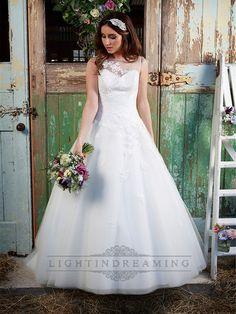 Stunning Illusion Neckline & Back A-line Lace Over Wedding Dress