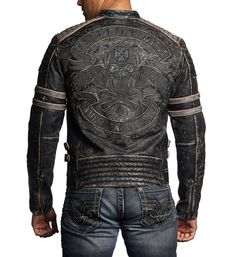DETAILS • Affliction Leather Jacket • American Custom Patch Artwork with Black and Charcoal Embroidery • Moto Fit • Black Vapor Wash CONTENT AND CARE • 100% Cow Hide Leather • Machine Wash Cold • Impo Affliction Men, Affliction Clothing, Biker Costume, Custom Leather Jackets, Stylish Mens Fashion, Men's Coats And Jackets, Jacket Style, Jacket Men, Motorcycle Leather