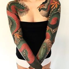 Japanese tattoo sleeves by @diau_bo. #japaneseink #japanesetattoo #irezumi #tebori #colortattoo #colorfultattoo #cooltattoo #largetattoo #armtattoo #chesttattoo #tattoosleeve #girltattoo #snaketattoo #mapleleaftattoo #blackwork #blackink #blacktattoo #wavetattoo #naturetattoo