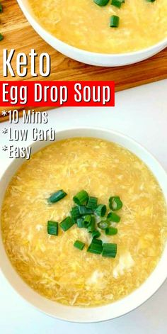 10 Minute Egg Drop Soup 10 Minute Keto Egg Drop Soup – Enjoy better for you classic takeout soup recipes right at home! Make this egg drop soup with just a few simple ingredients you may already have in your pantry or fridge! Egg Recipes, Low Carb Recipes, Diet Recipes, Cooking Recipes, Healthy Recipes, Simple Soup Recipes, Kitchen Recipes, Vegetarian Recipes, Recipies