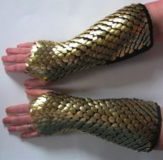 Scale Mail Armor Gauntlets Knitted Elbow Length Gold Dragonhide Custom Made to…