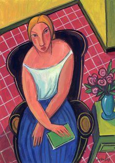 Rubia en el sofá negro (2015)/ Gouache sobre papel, 21x30 cm / Guillermo Martí Ceballos