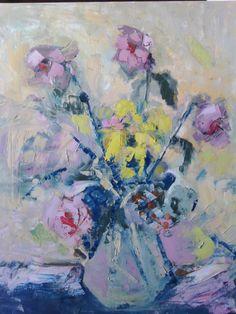 Flowers, oil on canvas, artist Strâmtu Ștefan