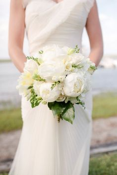 White Peony Bouquet | See the wedding on Style Me Pretty: http://www.stylemepretty.com/2013/06/05/figure-eight-island-wedding-from-kellie-kano/ Kellie Kano Studios