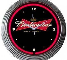 Budweiser  Neon Clock Sign Bud Bowtie Open Bar Bow Tie