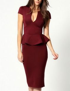 As many customers recommended that we decidedly bring you midi peplum dress besides the mini peplum dresses. Noble V-neck Midi Peplum Dress designed in an elongated outline with a revealing cleavage plunging neck and bewitching flounced waistline. Peplum Midi Dress, Pencil Dress, Dress Skirt, Bodycon Dress, Bodycon Style, Sheath Dress, Prom Dress, Sexy Dresses, Short Dresses