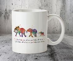 ♥ Elephant Family 3 Watercolor Art Print, Quote Mug, Watercolor Art Mug, Coffee Mug, Watercolor Cup, Tea Mug, Funny Gift, Funny Mugs, Gifts for Her, Birthday Gifts, Gifts for Him, Friend gift, Gift for Friend, Beautiful gifts.  ♥ About Our Mugs  - Durable glossy white high quality 330 ml (~ 11 oz) ceramic mug. - Design is permanently printed on BOTH sides of mug - not a sticker or vinyl. - Suitable for all ages, original and beautiful mug. - Dishwasher & microwave safe. - Designed and Pri...