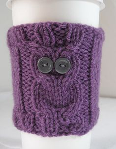 Owl Coffee Cup Cozy Hand Knit CHOOSE YOUR COLOR by yarncrazygirl, $6.49