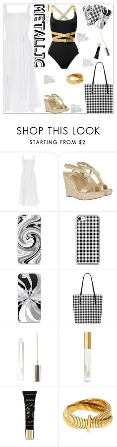 """""""You are Golden: Metallic Swimwear"""" by atelier-briella ❤ liked on Polyvore featuring MICHAEL Michael Kors, Boohoo, L.A. Colors, Napoleon Perdis, Diane Von Furstenberg, chic, Elegant, gingham, totebag and metallicswimwear"""