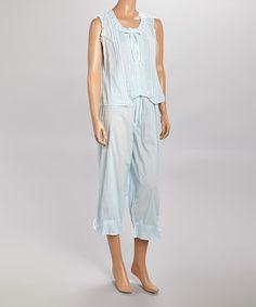 Loving this Blue Ruffle Sleeveless Pajama Top & Capris - Women & Plus on #zulily! #zulilyfinds