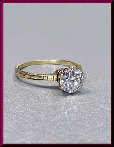 Antique Vintage Victorian 14K Yellow Gold Engraved Old European Cut Diamond Engagement Wedding Ring by AntiqueJewelryNyc on Etsy