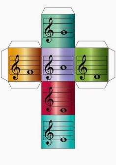 Treble clef notes printable dice for #musiced @colourfulkeys/ Dado con notas musicales vía @fatimalemusical #edmusical
