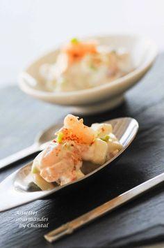 Mises en bouche: crevettes et pommes vertes