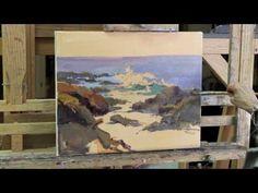 Dee Beard Dean demonstrates how to paint from a study of a plein air Laguna Beach Seascape - YouTube
