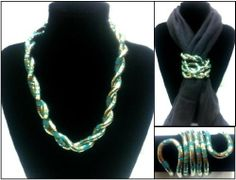 """48 Inches Long Flexible Bendable Stainless Steel Snake Bendy Jewelry Necklace Bracelet Scarf Holder Chain Twistable Shape Design Silver Turquoise Striped Finish by Trendy Bendy. $2.50. 48"""" long, 6mm thick, bendable stainless steel. necklace, bracelet, scarf holder, belt, and more! Enjoy twisting it into countless shapes to form your own wearable art.  You are the Ultimate Designer!. Save 90%!"""