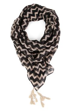 Deb Shops Chevron Print Scarf with Tassels $7.20