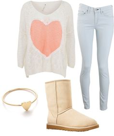 gold heart bracelet - cream ugg-like boots - light wash skinny jeans - cream draped sweater with coral heart print