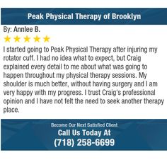 I started going to Peak Physical Therapy after injuring my rotator cuff.  I had no idea...